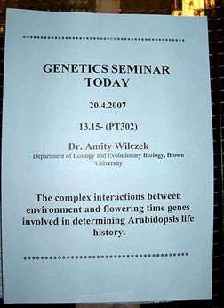 Seminar announcement:  Complex interactions between environment and flowering time genes in Arabidopsis